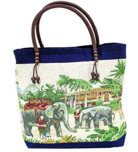 Thai Best shopping  elephant with mahout, Damen Schultertasche Blau Marineblau