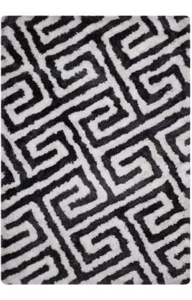 Safavieh Barcelona Shag Collection BSG323D Handmade Graphite and Ivory Polyester Square Area Rug (5' Square) - Barcelona Square