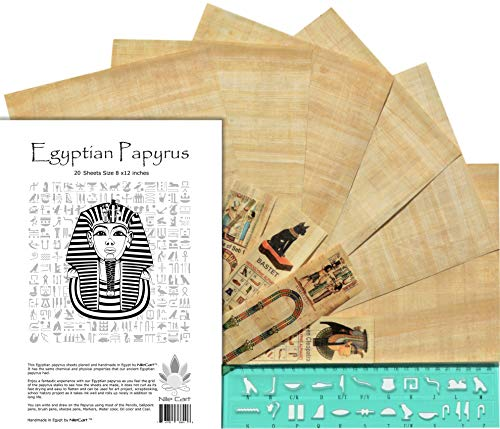 NileCart Egyptian Papyrus Blank Sheets 8 x12 in with Hieroglyphic Alphabet Stencil Ruler & Bookmarks (20 Sheets)