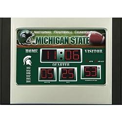 11 NCAA Michigan State Spartans Scoreboard Alarm Desk Clock with Temperature