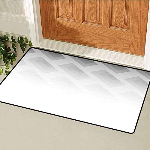 Gloria Johnson Grey Universal Door mat Blur Poster Display with Simplistic Square Shapes Contemporary Optic Illusion Print Door mat Floor Decoration W19.7 x L31.5 Inch Cloud White