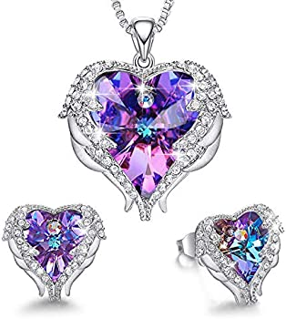 CDE Angel Wing Swarovski Crystal Pendant Necklace Stud Earrings