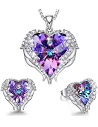 4b91eeed6 Angel Wing Heart Necklaces and Earrings Embellished with Crystals from  Swarovski 18K White Gold Plated Jewelry