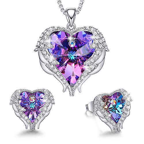 CDE Angel Wing Heart Necklaces and Earrings Gifts for Mothers Day Embellished with Crystals from Swarovski 18K White Gold Plated Jewelry Set for Women