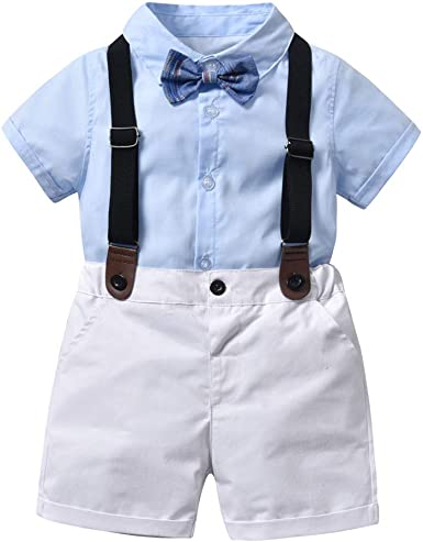 DIGOOD for 0-3 Years Old,Toddler Baby Boys Bowtie Shirt+Suspenders Pants,2Pcs Formal Overall Outfits Clothes Sets