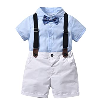 2da19b46931c Toddler Baby Boys Summer Gentleman Suit Short Sleeves Solid Bowtie Shirt+Overall  Pants Shorts Sets