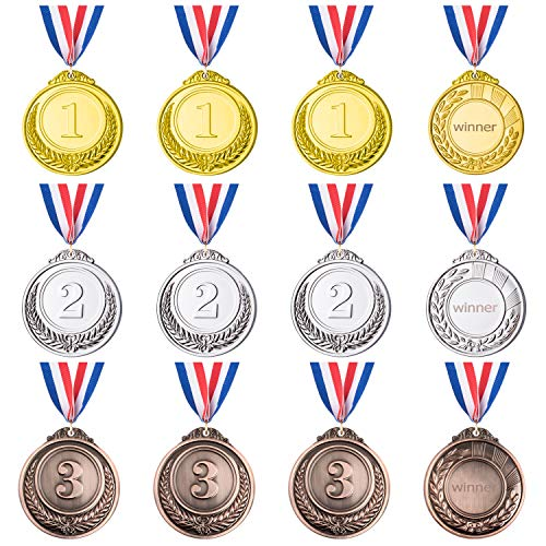 Favourde 12 Pieces Gold Sliver Bronze Metal Medals Winner Award Medals Prizes for Competitions, Party, 2.55 Inches ()
