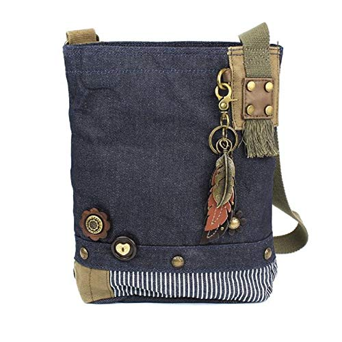 Chala Patch Cross-Body Women Handbag, Canvas Messenger Bag (Metal Feather - Feathers Denim