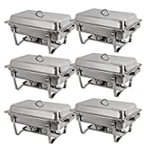 Rectangular Chafing Dish with Lid Full Size Buffet Catering 6 Pack of 8 Quart Stainless Steel Frame(6)
