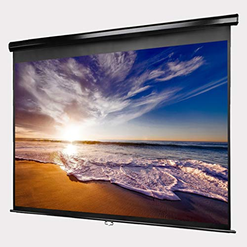 Manual Pull Down Projector Screen - 100 Inch - 4:3 Aspect Ratio - 1.1 Gain - Premium Matte PVC Screen - Lightweight Aluminum Housing - Easy to Install - All Necessary Hardware Included