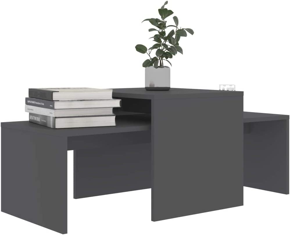 pedkit Coffee Table Set, Side Tea Tables Morden Couch Table for Living Room, Nesting Table High Gloss Grey 100x48x40 cm Chipboard Grey