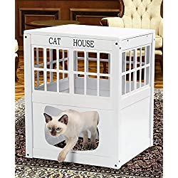 TravenPal Multi Functional Wooden Cat House | Fine Wood Craftsmanship, Compact& Portable | Use As A Hideaway Kitty Home, Litter Box & Side Table | Hide Mess, Boost Safety & Promote Calm Sleeping