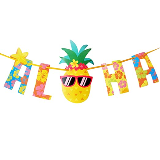 Coxeer Aloha - Bandera de Aloha para Fiesta Hawaiana, Carta ...