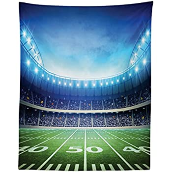 Lunarable Football Tapestry Twin Size, Photo of American Stadium Green Grass Arena Playground Bleachers Event Match, Wall Hanging Bedspread Bed Cover Wall Decor, 68