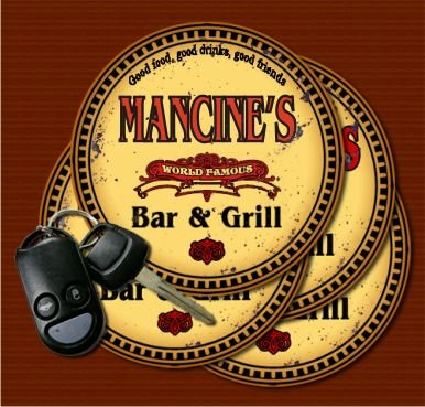MANCINE'S World Famous Bar & Grill Coasters Set of 4