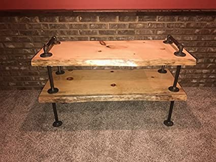 amazon com industrial pipe and wood tv stand flatscreen live edge