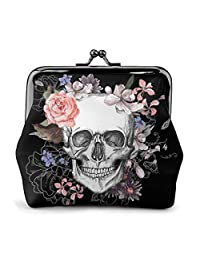 Pink Floral Sugar Skull Flower Women'S Wallet Buckle Coin Purses Pouch Kiss-lock Change Travel Makeup Wallets