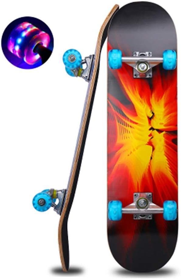 Sljj 大人のティーンエイジャー スケートボードコンプリートクルーザー、 LED付きスケートボードは初心者のための明確なPUの車輪をつけます (Color : C) C