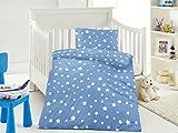 Aminata Kids süße Jungen-Kinder-Bettwäsche 100x135 cm Sterne flauschige Baumwolle serinity hellblau weiß Bettwäsche-Kinder blau Stern-Motiv