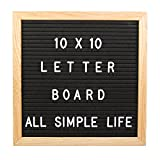 All Simple Life Changeable Felt Letter Board, Includes 290 Letters, Numbers & Symbols,10x10 Inches, Changeable Wooden Message Board Sign, Oak Wood Frame, Wall Mount, Free Canvas Bag, By (Black)