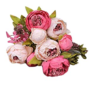 Silk Peony, BCDshop Vintage Europe Style Artificial Fake Flower 8 Heads Bouquets For Weddings, Cemetery, Crafts,House Party Decoration (Hot Pink) 37
