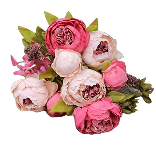 Silk Peony, BCDshop Vintage Europe Style Artificial Fake Flower 8 Heads Bouquets For Weddings, Cemetery, Crafts,House Party Decoration (Hot Pink)