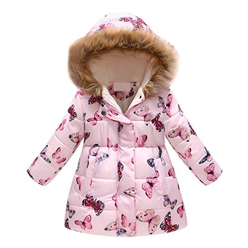 2ee039e2d Moonper Infant Lightweight Down Jacket Baby Girl Floral Butterfly Winter  Warm Jacket Hooded Long Windproof Coat (6-7Years, Pink)