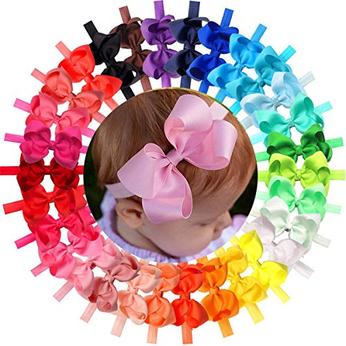 - 30Pcs Colors 4.5 inches Grosgrain Ribbon Baby Girls Hair Bows Headbands for Infants Newborn and Toddlers