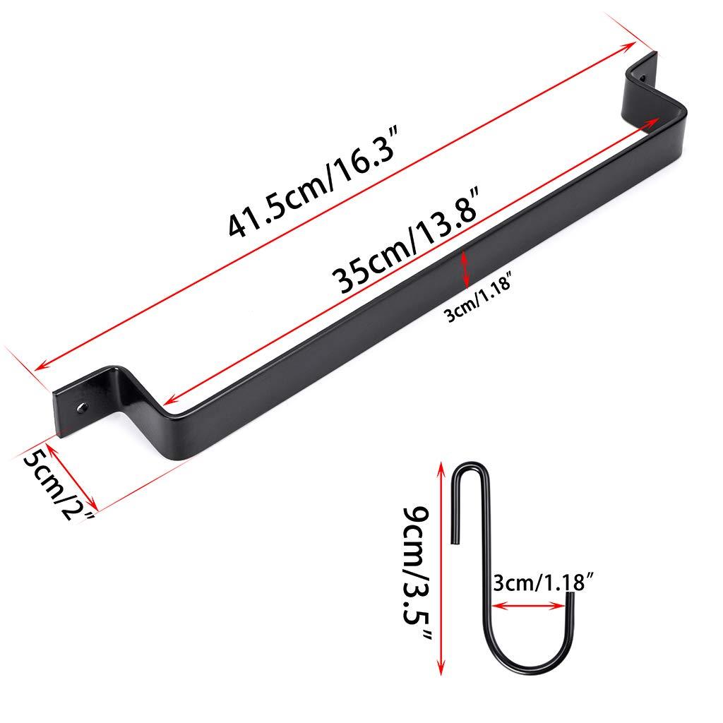 color negro Astory Soporte de pared para barra de 100 cm para utensilios de cocina con 10 ganchos