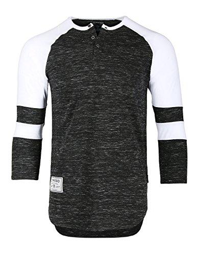 ZIMEGO Men's 3/4 Sleeve Baseball Football College Raglan Henley Athletic TShirt,Black White,XLarge