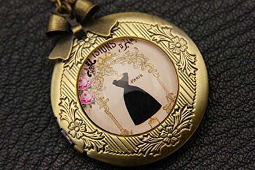 Couture Photo Necklace Locket,Beautiful Skirt Pendent,Black Skirt Locket,Vintage Bronze Jewelry,Fashion Pendant,Glass Round Necklace, Dark Bronze Couture Art