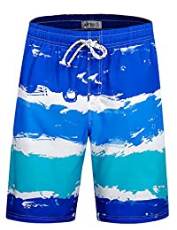 APTRO Men's Swim Trunks Beach Colorful Swim Shorts with No Mesh Lining
