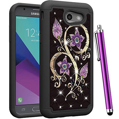 Diamond Samsung - CAIYUNL for Galaxy J3 Emerge Case,J3 Prime /J3 2017 /J3 Eclipse /J3 Luna Pro /J3 Mission/Express Prime 2/ Amp Prime 2 Studded Rhinestone Bling Dual Layer Protective Women Cover -Black Purple Flower