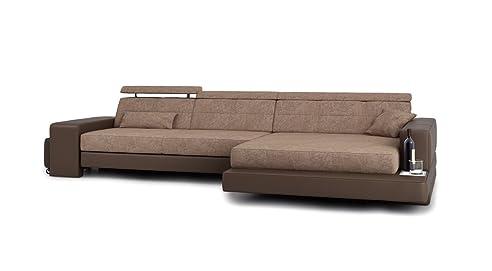 Eckcouch modern braun  Eckcouch L-Form braun Stoffsofa Couch Leder Wohnlandschaft modern ...