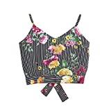 SuperUS Women's Lady Blouse Casual V Neck Multicolor Striped Floral Snake Print Self Tie Back Crop Tank Tops Camisole Shirt Black