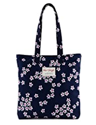 [HotStyle Fashion Printed] Cute Floral Travel Tote School Bookbag for Girls, NavyBlue