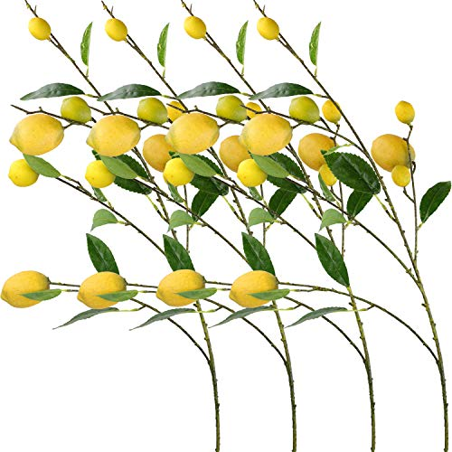 Rinlong 4pcs Artificial Lemon Branches 32 Fake Yellow Lemons Fruits for Home Garden Floral Décor