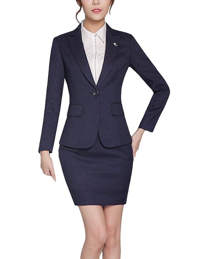 dda8fc74f8e MFrannie Women Floral Brooch Notch Lapel Formal Blazer and Skirt Set at  Amazon Women's Clothing store: