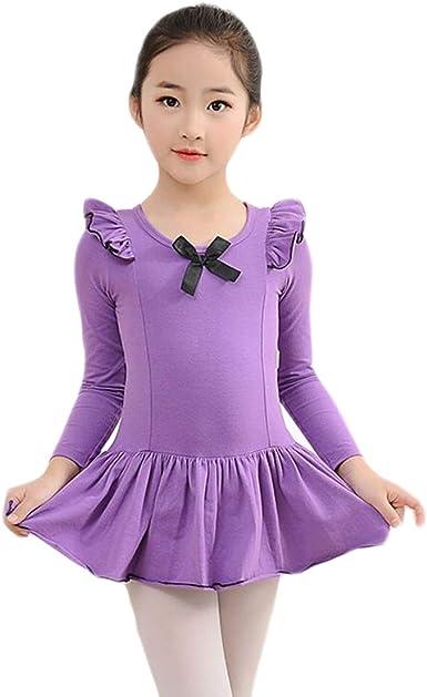 Vestido de Ballet Ropa Danza Clasica Niña Manga Larga Princesa ...
