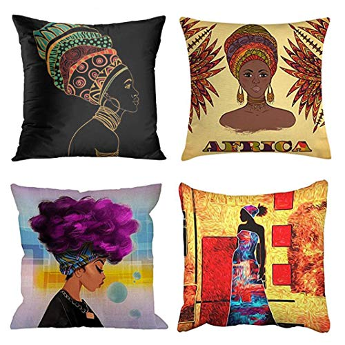 (Emvency Set of 4 Throw Pillow Covers Black Africa African Woman Ethnic Portrait Beautiful with Earring Profile Decorative Pillow Cases Home Decor Square 20x20 Inches Pillowcases)