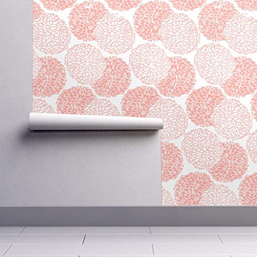 Peel-and-Stick Removable Wallpaper - Coral Mums Coral White Mums Floral Coral Asian Chrysanthemum Floral by Willowlanetextiles - 24in x 144in Woven Textured Peel-and-Stick Removable Wallpaper Roll