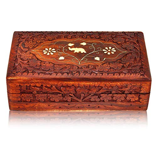 Great Birthday Gift Ideas Handmade Decorative Wooden Jewelry Box Jewelry Organizer Keepsake Box Treasure Chest Trinket Holder Watch Box Storage Box 8 x 5 Inches Anniversary Housewarming Gifts for Her