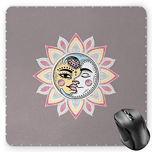 BGLKCS Sun Mouse Pad, Sun and Moon with Faces Abstract Floral Pattern Foliage Leaves Design Ethnic, Standard Size Rectangle Non-Slip Rubber Mousepad, Dimgrey ()
