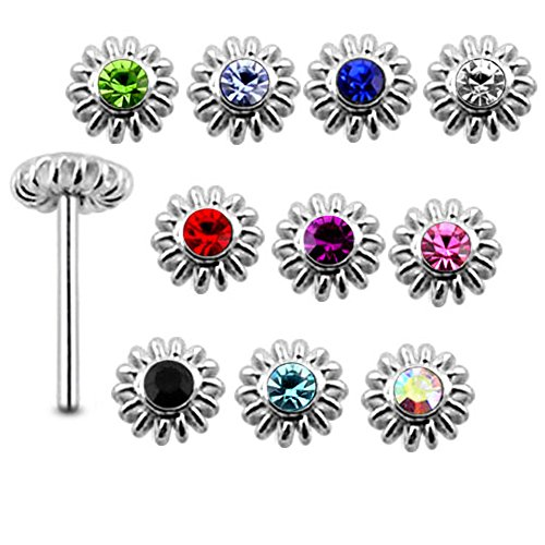 20 Pieces Mix Color Jeweled Coiled Flower 925 Sterling Silver Nose Pin Straight End 20Gx5/16 (0.8x8MM). Pack in Acrylic Box.