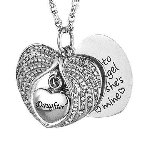 (IMEIM Angel wings Cremation Urn Memorial Necklace for Ashes Stainless Steel Pendant Unique Small Jewelry Special Art Store memories Keep alive Forever Spiritual Eternity (Daughter))
