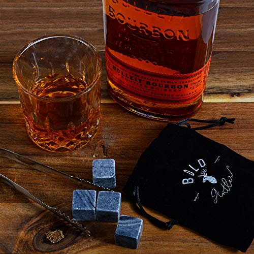 Bold Antler Whiskey Stones Set | Bar Accessories with Shot Glasses, Coasters and Granite Cubes in Wooden Box | No Ice Melt Bourbon, Scotch, Brandy Glass | Best Birthday or Anniversary Gift for Men by Bold Antler (Image #6)