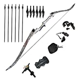 "Tongtu 57"" 50lbs Takedown Recurve Bow and Arrows Sets Right-handed with Sharpened Broadheads and Professional Accessories for Targeting Practice Hunting Shooting Games"