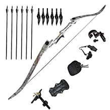 Tongtu Recurve Bow Archery 50lbs Takedown Hunting Adult Bow Right-handed with 6pcs Arrows Broadheads and Accessories Practice Shooting Games