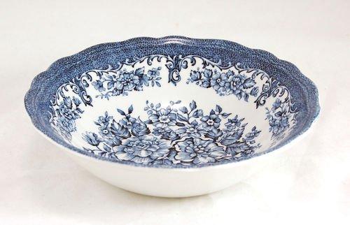 J & G Meakin England Royal Staffordshire Avondale Ironstone Blue Flowers Vegetable Pasta Salad Serving Bowl