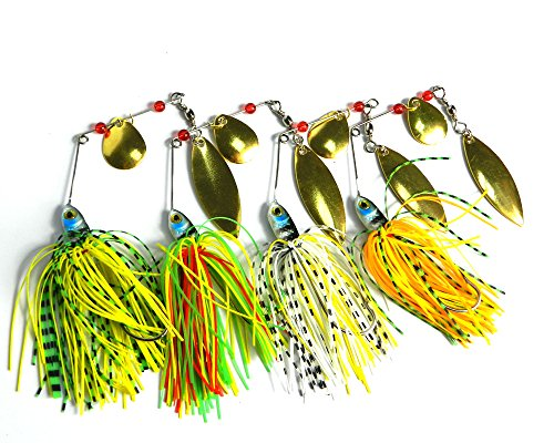 Hengjia 8pcs/lot Buzzbait Spinner lead head fishing Bait Fishing Lures with Holographic Painted Blades for Bass Trout Pike fishing tackles 17.4g (Tackle Buzzbait Bait)